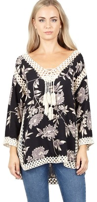 M&Co Izabel floral and crochet top