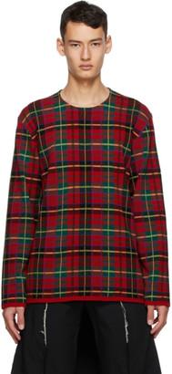 Comme des Garçons Homme Plus Red Intarsia Tartan Crewneck Sweater