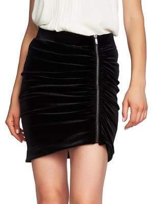1.STATE Gathered Velvet Mini Skirt
