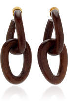 Oscar de la Renta Wooden Chain-Link Drop Earrings