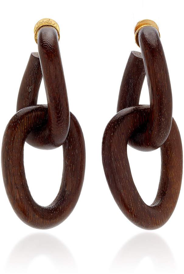 Oscar de la Renta Wooden Chain-Link Drop Earrings