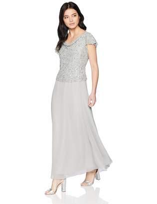 J Kara Women's Petite Long Beaded Cowl Neck Flutter Sleeve Gown Dress