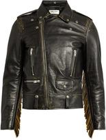 Saint Laurent Tasselled leather biker jacket