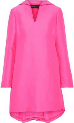 Brandon Maxwell Pleated Duchesse-satin Mini Dress