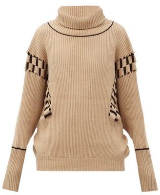Palmer Harding Ateli Woven-panel Ribbed Cotton-blend Sweater - Camel