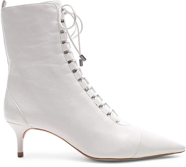 Alexandre Birman Leather Millen Lace Up Ankle Boots in White | FWRD