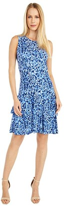 MICHAEL Michael Kors Ikat Mj Sleeveless Dress (True Navy) Women's Dress