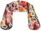 Cushnie et Ochs Carlita Cropped Off-the-shoulder Floral-print Cady Top - Orange