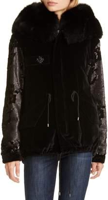 Mr & Mrs Italy Sequin Embellished Velvet Coat with Removable Genuine Fox Fur Trim