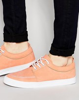 Asos Lace Up Plimsolls In Peach Faux Suede