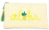 Kayu Aloha embroidered straw clutch