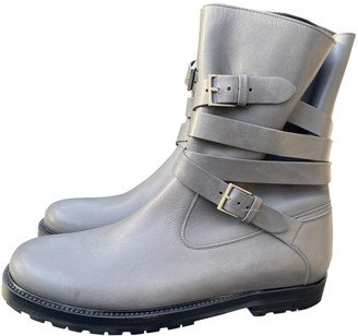 Christian Dior Grey Leather Boots