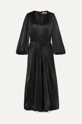 Ganni Polka-dot Hammered-satin Maxi Dress