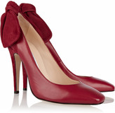 Carven Bow-detailed leather and suede pumps