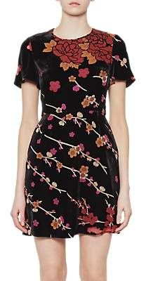 French Connection Wilma Velvet Devore Short Sleeve Dress, Black/Multi