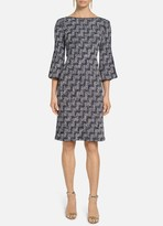 St. John Stepped Wicker Inlay Knit Dress