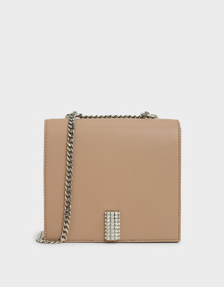 Charles & Keith Leather Chain Strap Boxy Bag