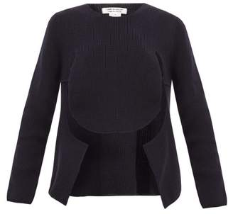 Comme des Garcons Cut Out Draped Front Sweater - Womens - Navy