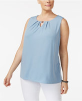 Charter Club Plus Size Keyhole Tank, Created for Macy's