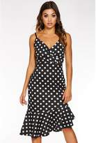 Quiz Black And White Polka Dot Wrap Asymmetrical Midi Dress