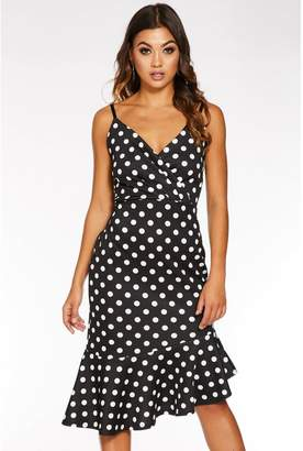 Quiz Black And White Polka Dot Wrap Asymmetrical Midi Dress