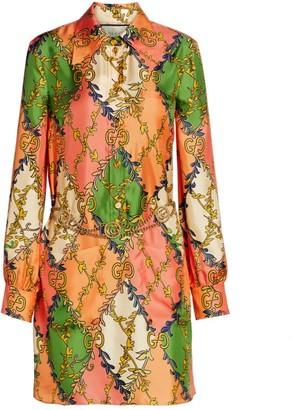 Gucci GG Rhombus Printed Silk Shirtdress