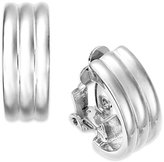 Lauren Ralph Lauren Silver-Tone Ribbed Hoop Clip-On Earrings