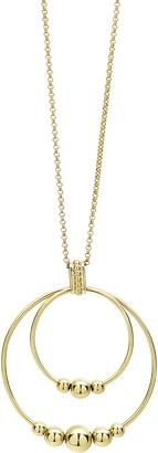 Lagos Caviar Gold Double Circle Pendant Necklace