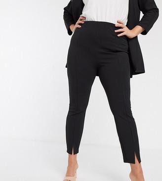 ASOS DESIGN Curve jersey slim split front suit trousers