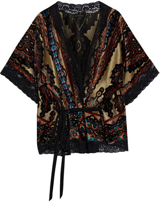 Etro Belted Lace-trimmed Printed Devore-velvet And Lame Wrap Top