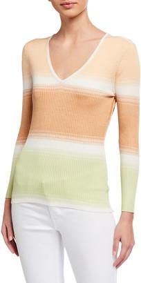 Jed Pigment Stripe Mini Rib Slim V-Neck Sweater