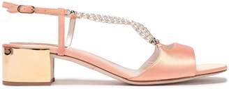 Rene Caovilla Rene' Caovilla Embellished Satin Slingback Sandals