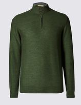 Collezione Merino Wool Blend Textured Half Zip Jumper
