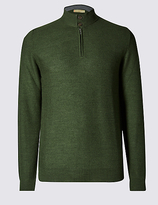 Collezione Tailored Fit Half Zip Jumper With Merino Wool