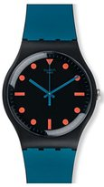 Swatch Quartz Plastic and Silicone Casual Watch, Color:Blue (Model: SUOB121)