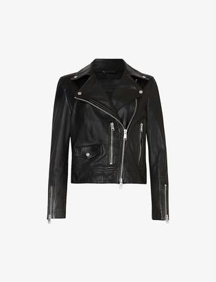 AllSaints Kara leather cropped biker jacket