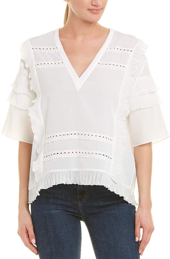 3-4 Sleeve V Neck Lace Top