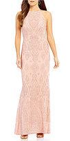 Jump High Neck Glitter Pattern Slinky Long Dress