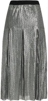 Maje Pleated Sequined Tulle Midi Skirt