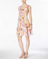 Nine West Sleeveless Floral-Print A-Line Dress