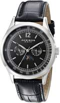 Akribos XXIV Men's AK638SSB Retro Multi-Function Stainless Steel Black Leather Strap Watch