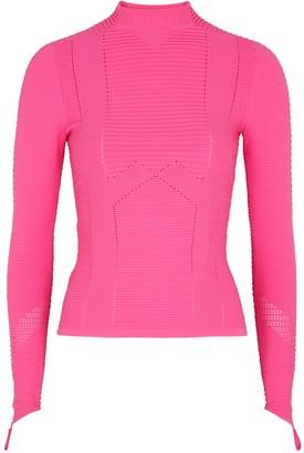 Adam Selman Sport Neon Pink Ribbed Jersey Top