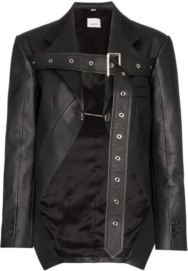 Burberry belt strap leather blazer jacket