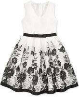 Bonnie Jean Black and White Floral Mesh Dress, Big Girls (7-16)