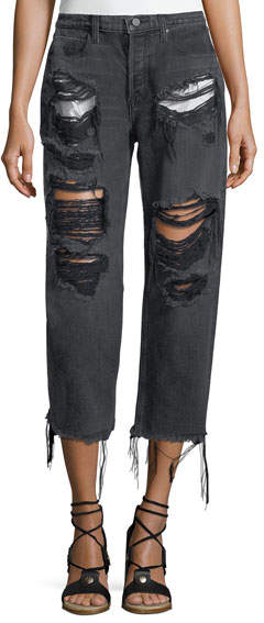 Alexander Wang Rival Destroyed Cropped Boyfriend Jeans w/ Pocket Detail