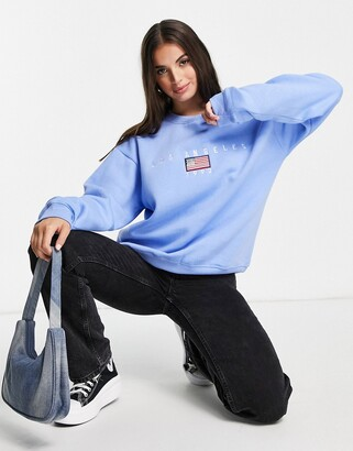 Daisy Street relaxed sweatshirt with vintage los angeles embroidery
