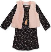 Rare Editions Chiffon Dress, Vest & Necklace Set, Toddler & Little Girls (2T-6X)