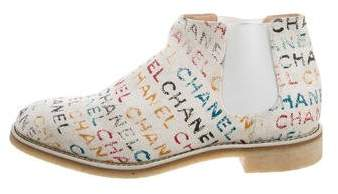 Chanel Logo Print Chelsea Boots