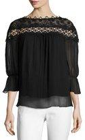 Elie Tahari Bobbie Floral Appliqué Silk Chiffon Blouse, Black