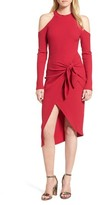 Lush Women's Tie Waist Cold Shoulder Dress